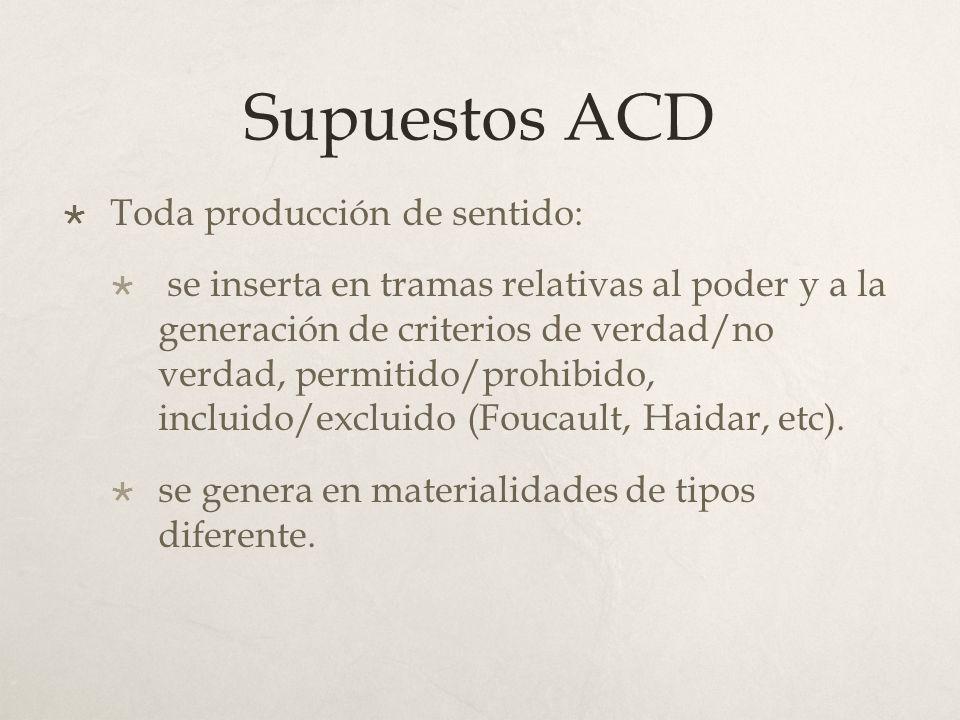 Supuestos ACD Toda producción de sentido: