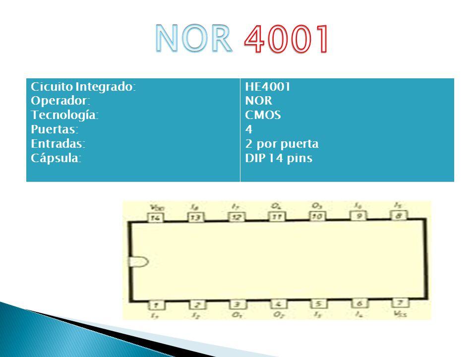 NOR 4001 Cicuito Integrado: Operador: Tecnología: Puertas: Entradas: Cápsula: HE4001 NOR CMOS 4 2 por puerta DIP 14 pins.