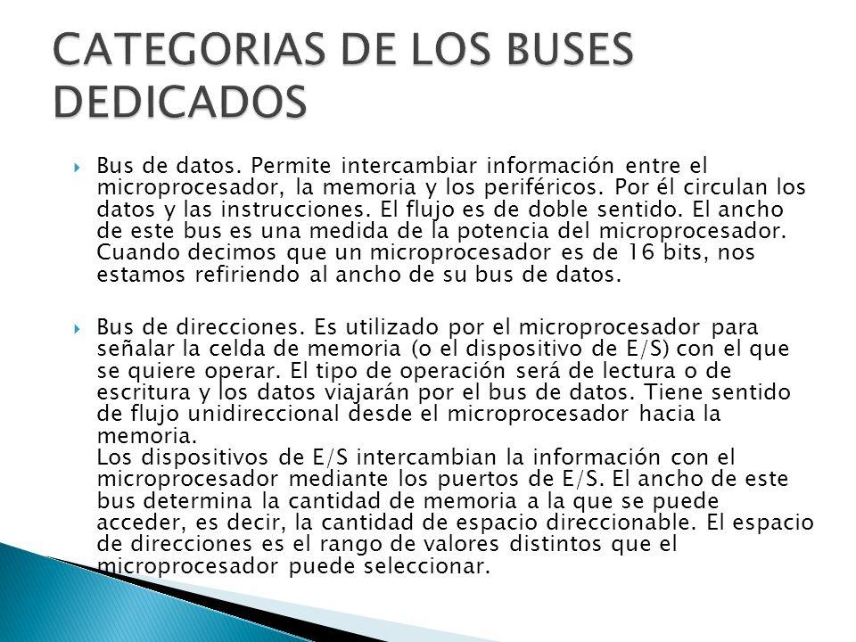 CATEGORIAS DE LOS BUSES DEDICADOS