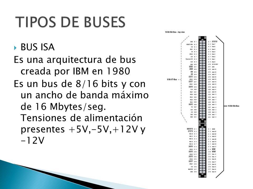 TIPOS DE BUSES BUS ISA. Es una arquitectura de bus creada por IBM en 1980.