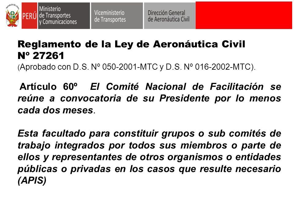Reglamento de la Ley de Aeronáutica Civil Nº 27261