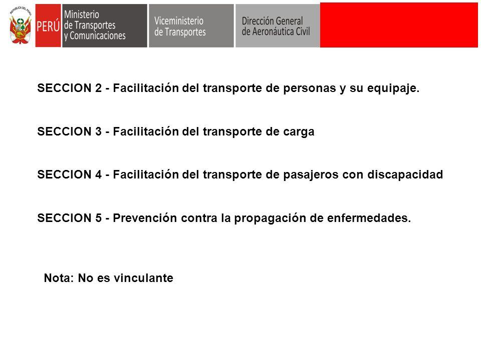 SECCION 2 - Facilitación del transporte de personas y su equipaje.
