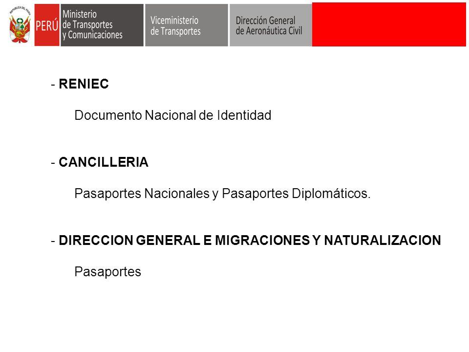 RENIEC Documento Nacional de Identidad. CANCILLERIA. Pasaportes Nacionales y Pasaportes Diplomáticos.