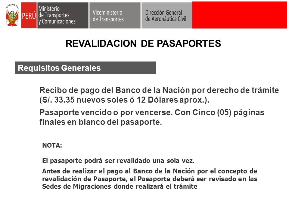 REVALIDACION DE PASAPORTES