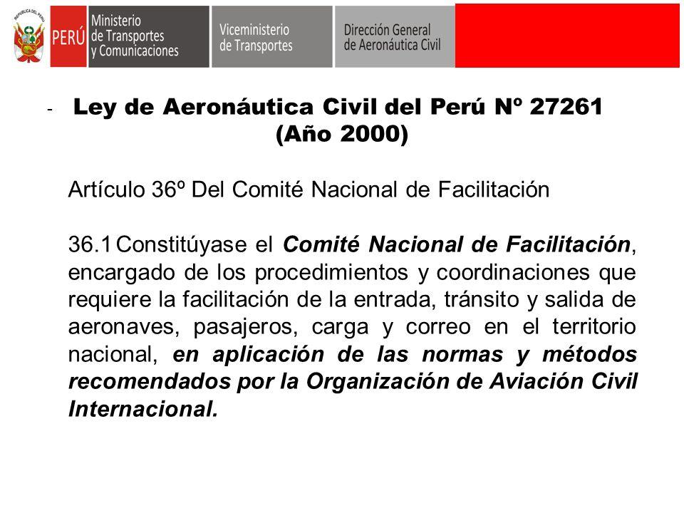 Artículo 36º Del Comité Nacional de Facilitación