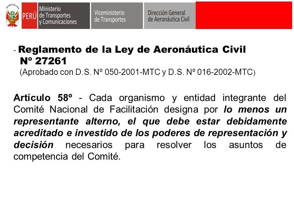 - Reglamento de la Ley de Aeronáutica Civil