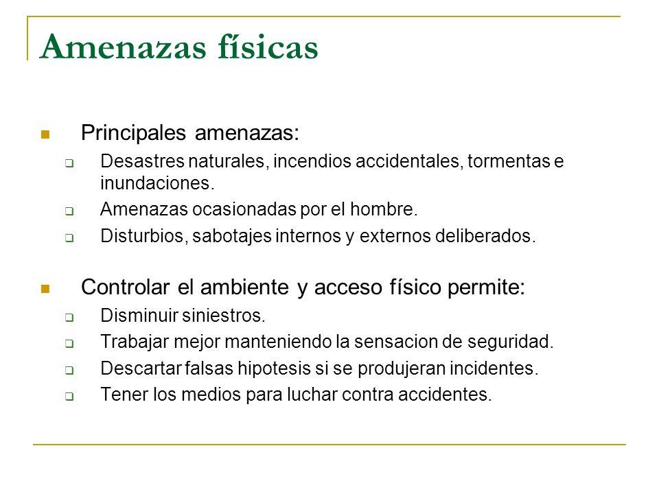Amenazas físicas Principales amenazas: