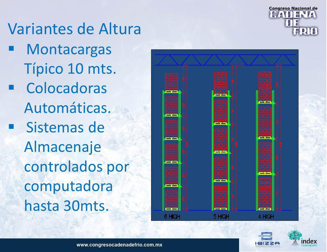 Variantes de Altura Montacargas Típico 10 mts. Colocadoras