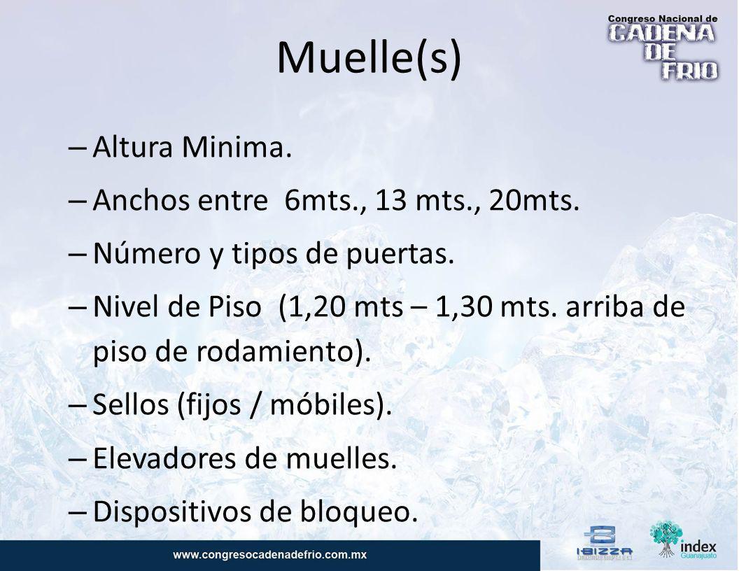 Muelle(s) Altura Minima. Anchos entre 6mts., 13 mts., 20mts.