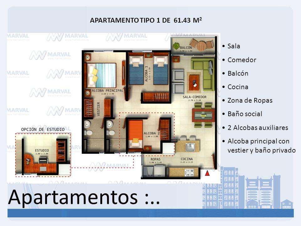 Apartamentos :.. APARTAMENTO TIPO 1 DE 61.43 M2 Sala Comedor Balcón