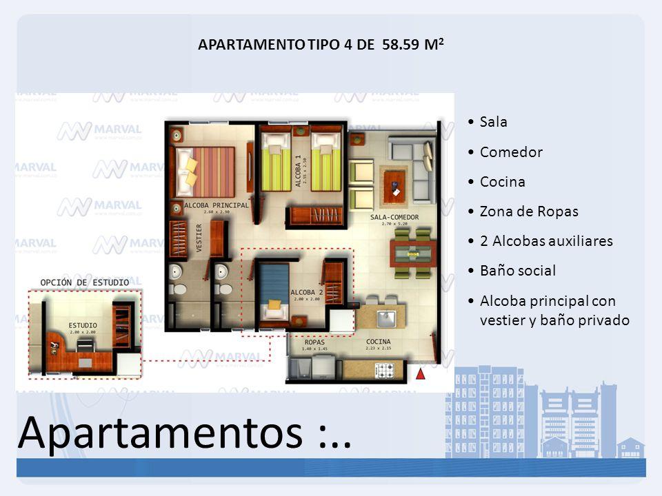 Apartamentos :.. APARTAMENTO TIPO 4 DE 58.59 M2 Sala Comedor Cocina