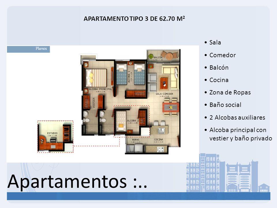 Apartamentos :.. APARTAMENTO TIPO 3 DE 62.70 M2 Sala Comedor Balcón