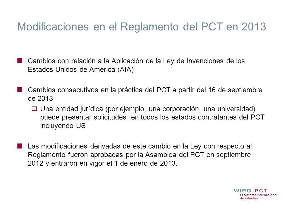 Modificaciones en el Reglamento del PCT en 2013