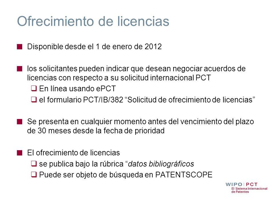 Ofrecimiento de licencias