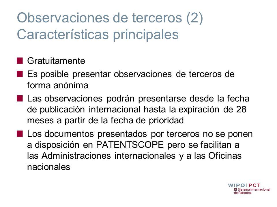 Observaciones de terceros (2) Características principales