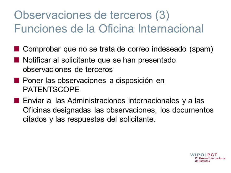 Observaciones de terceros (3) Funciones de la Oficina Internacional