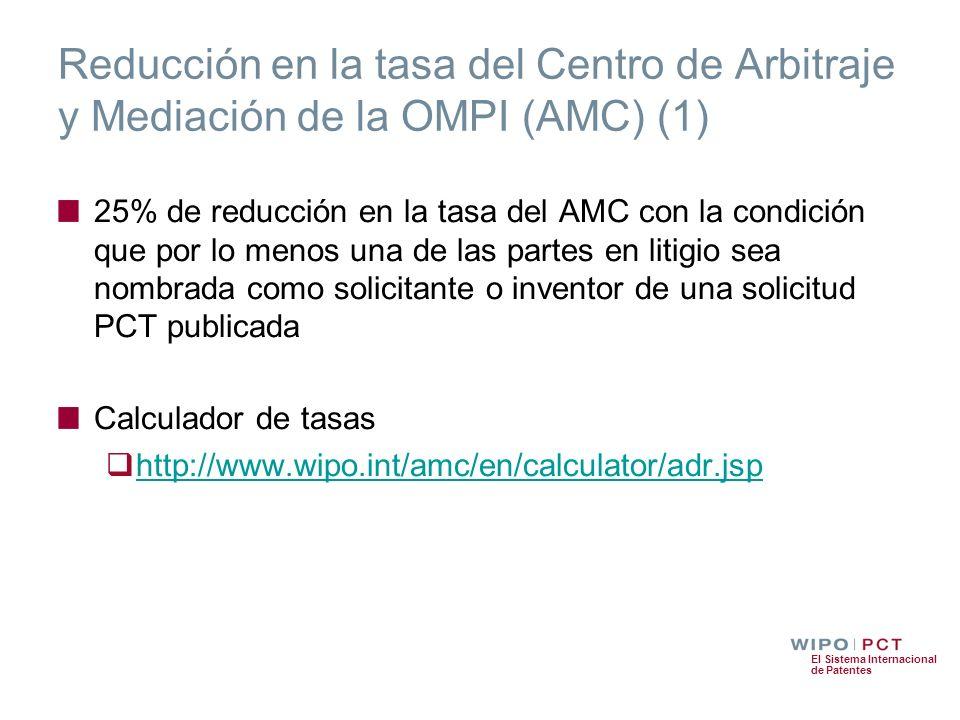 Reducción en la tasa del Centro de Arbitraje y Mediación de la OMPI (AMC) (1)