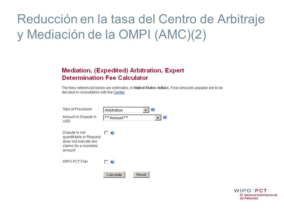 Reducción en la tasa del Centro de Arbitraje y Mediación de la OMPI (AMC)(2)
