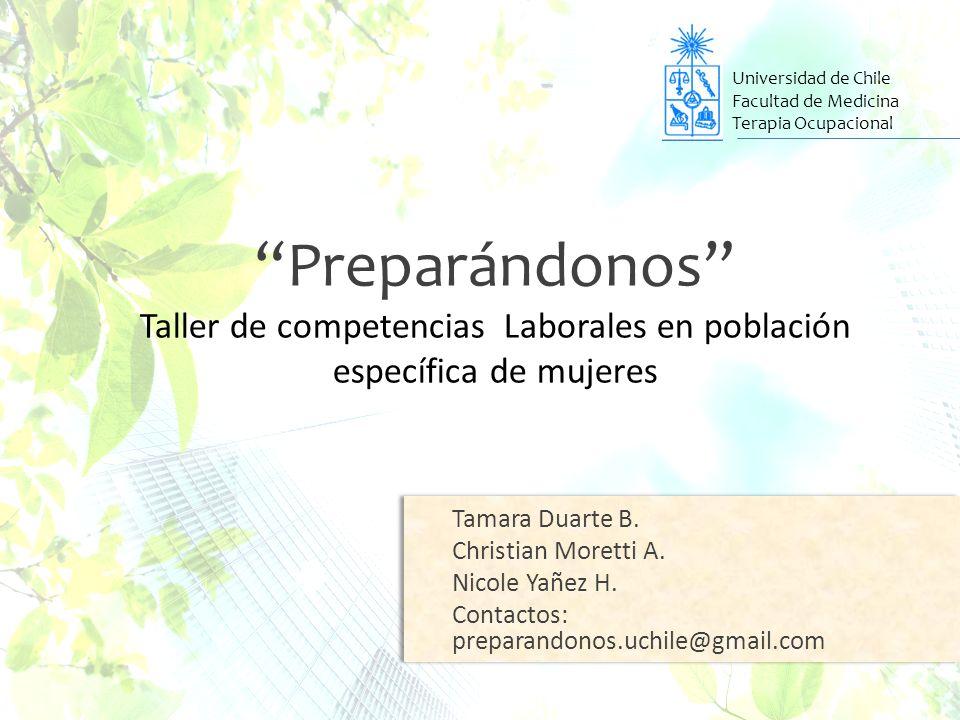 Universidad de Chile Facultad de Medicina. Terapia Ocupacional.