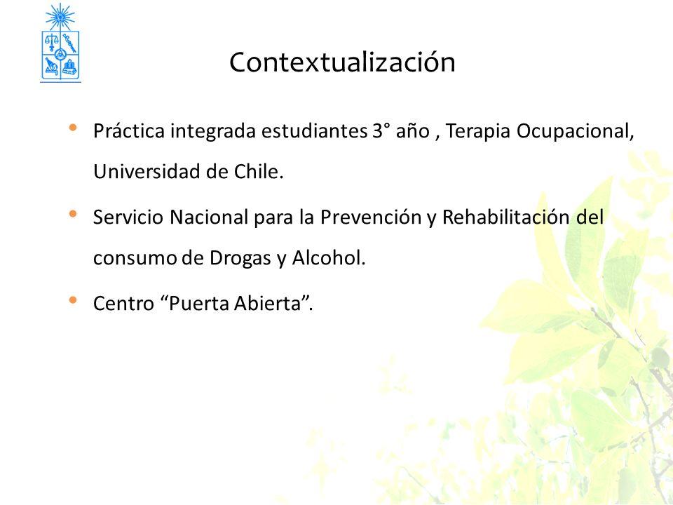 Contextualización Práctica integrada estudiantes 3° año , Terapia Ocupacional, Universidad de Chile.