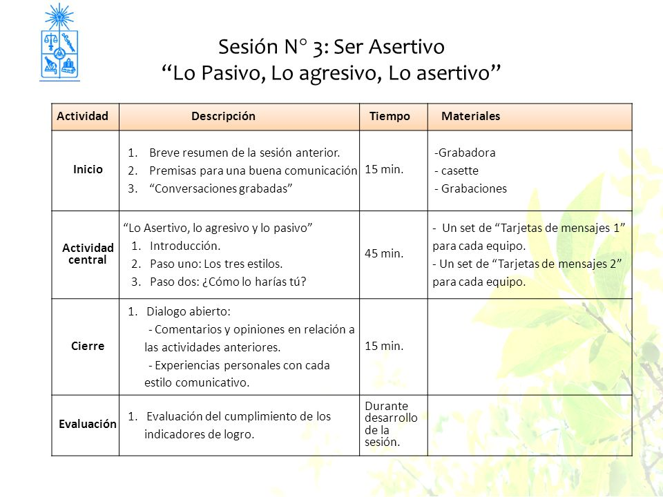 Sesión N° 3: Ser Asertivo Lo Pasivo, Lo agresivo, Lo asertivo