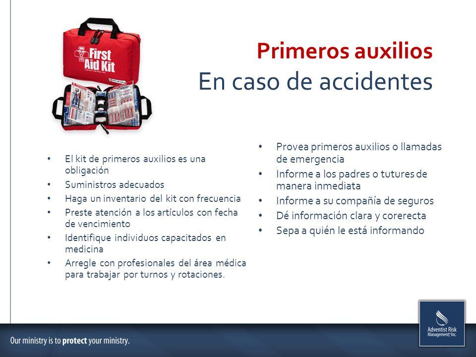 En caso de accidentes Primeros auxilios