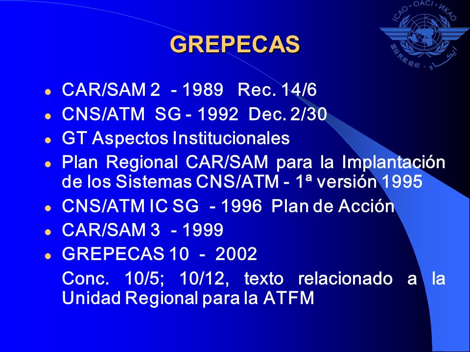 GREPECAS CAR/SAM 2 - 1989 Rec. 14/6 CNS/ATM SG - 1992 Dec. 2/30