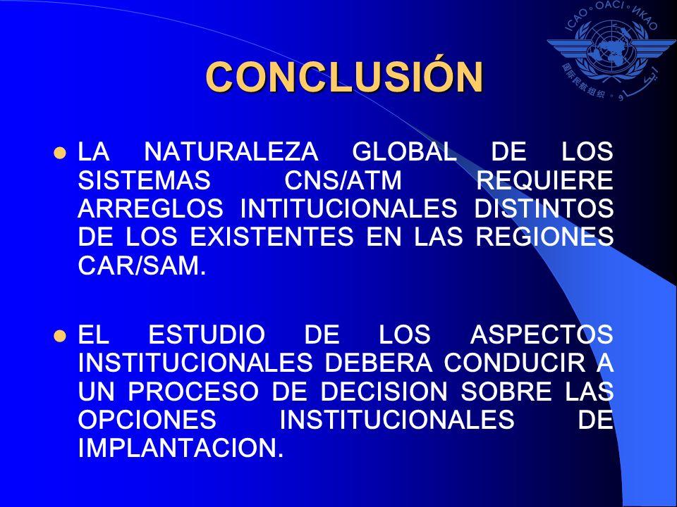 CONCLUSIÓNLA NATURALEZA GLOBAL DE LOS SISTEMAS CNS/ATM REQUIERE ARREGLOS INTITUCIONALES DISTINTOS DE LOS EXISTENTES EN LAS REGIONES CAR/SAM.