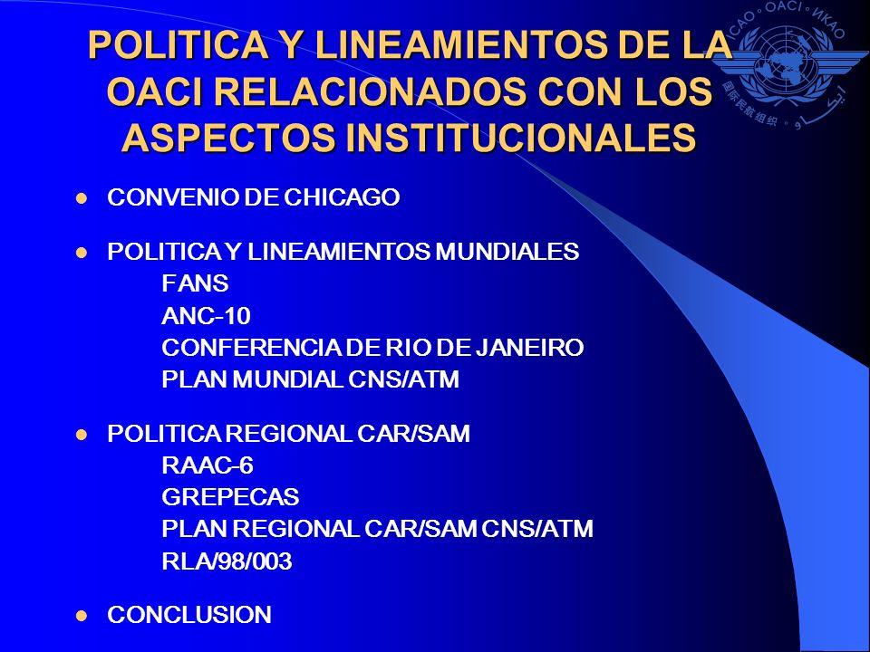 POLITICA Y LINEAMIENTOS DE LA OACI RELACIONADOS CON LOS ASPECTOS INSTITUCIONALES