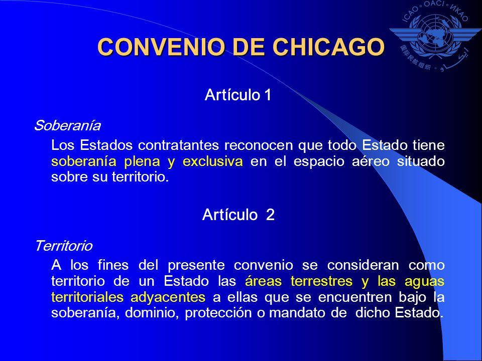 CONVENIO DE CHICAGO Artículo 1 Artículo 2 Soberanía