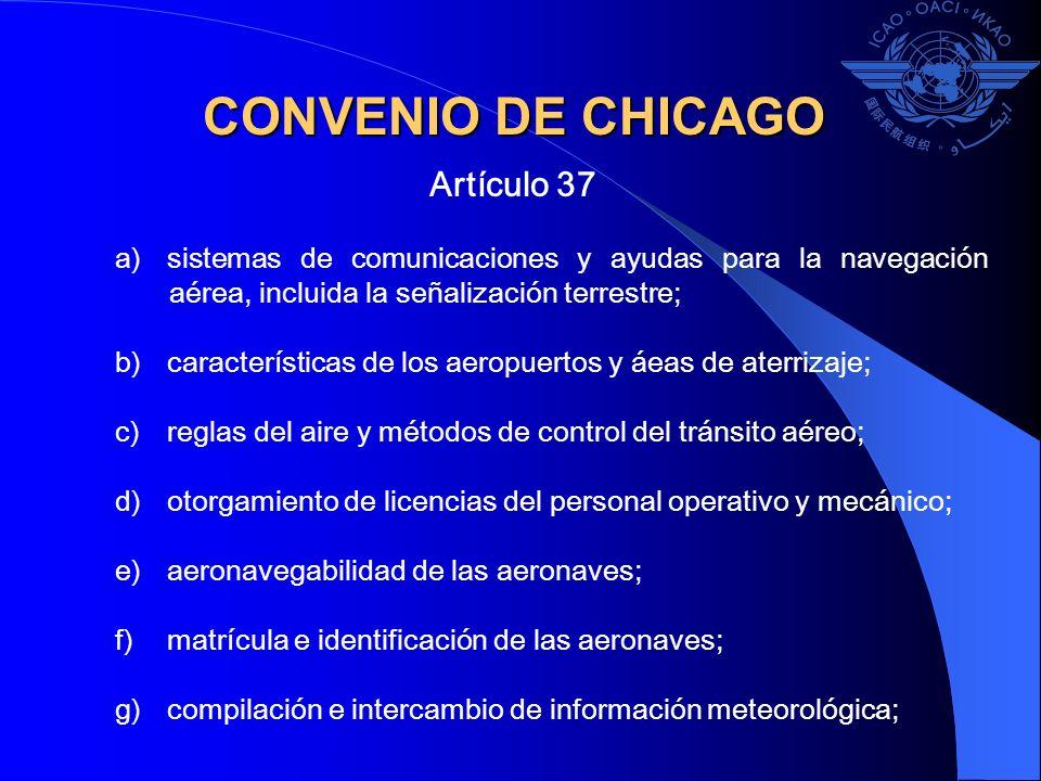 CONVENIO DE CHICAGO Artículo 37