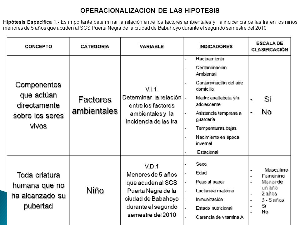 OPERACIONALIZACION DE LAS HIPOTESIS ESCALA DE CLASIFICACIÓN