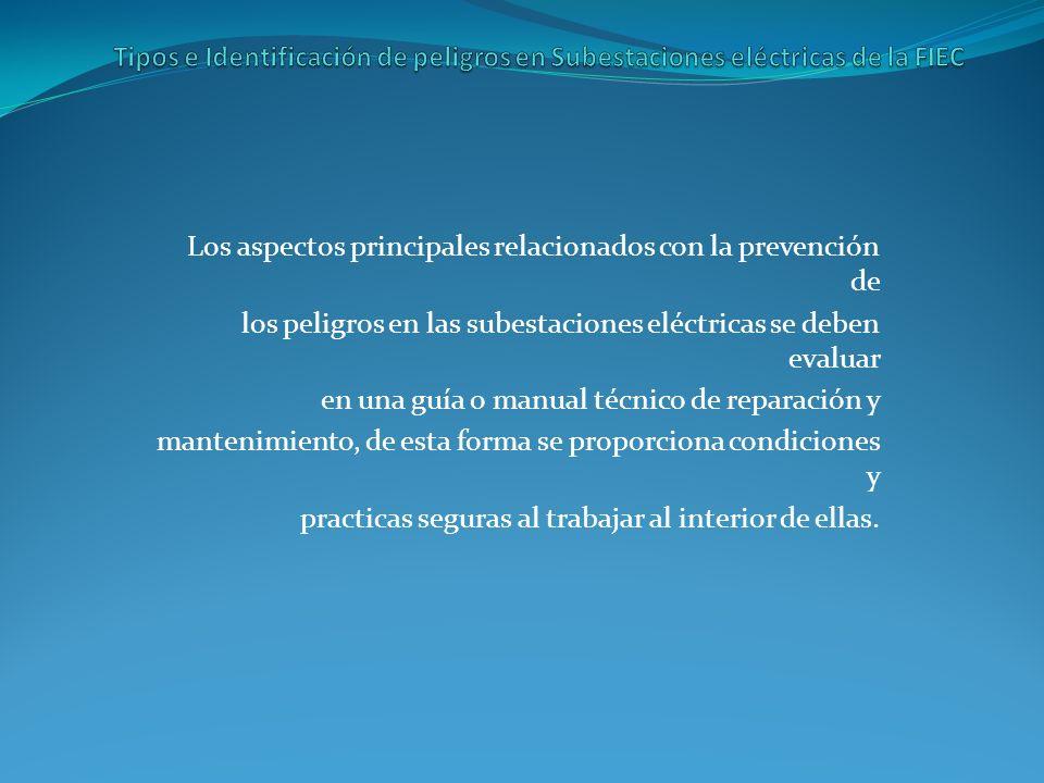Tipos e Identificación de peligros en Subestaciones eléctricas de la FIEC