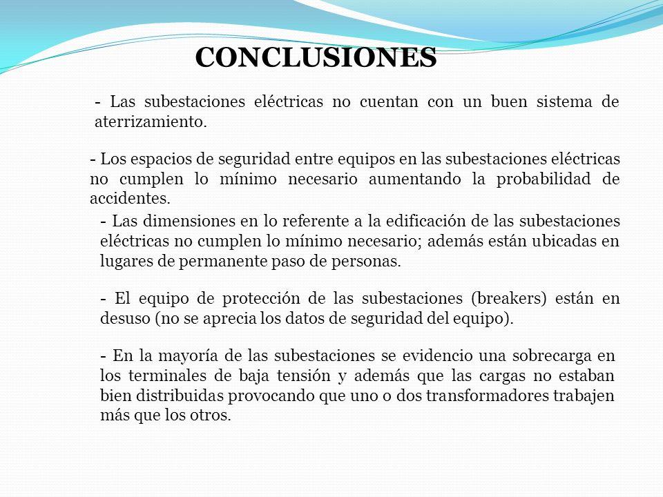 CONCLUSIONES - Las subestaciones eléctricas no cuentan con un buen sistema de aterrizamiento.