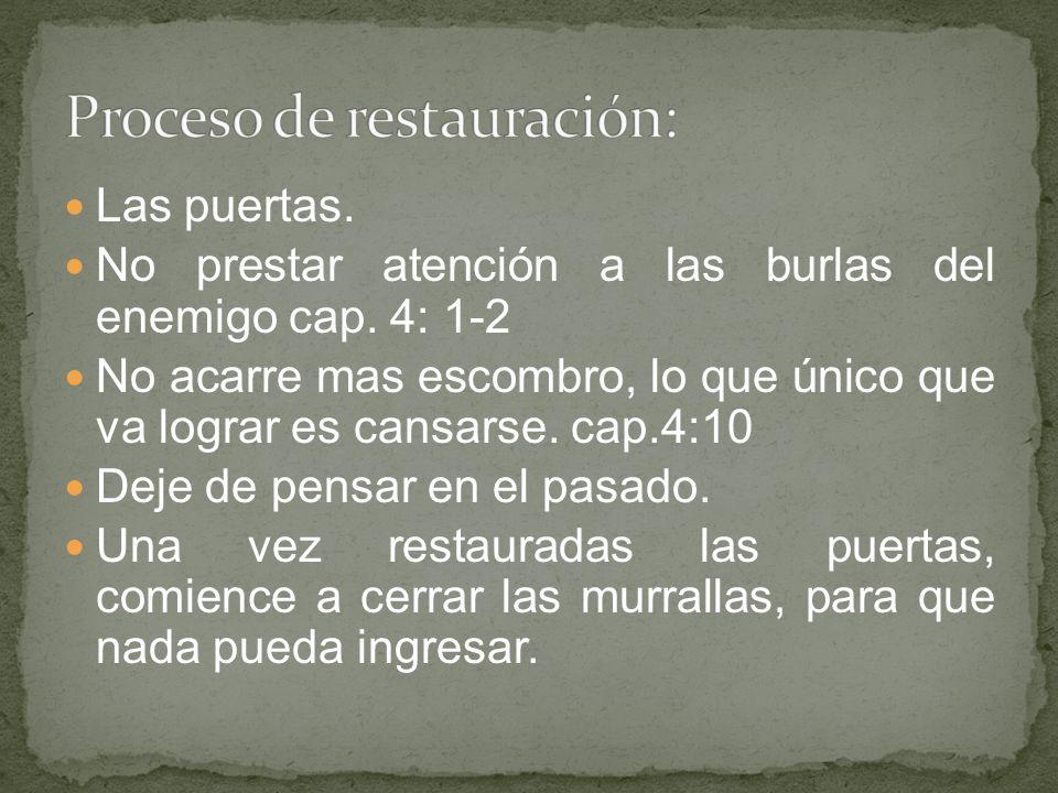 Proceso de restauración: