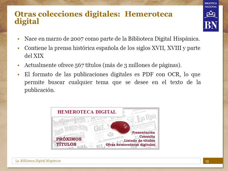Otras colecciones digitales: Hemeroteca digital