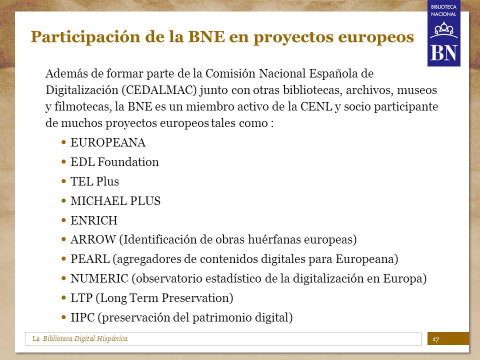 Participación de la BNE en proyectos europeos