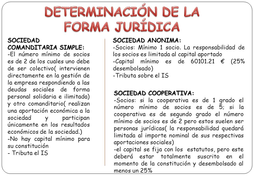 DETERMINACIÓN DE LA FORMA JURÍDICA