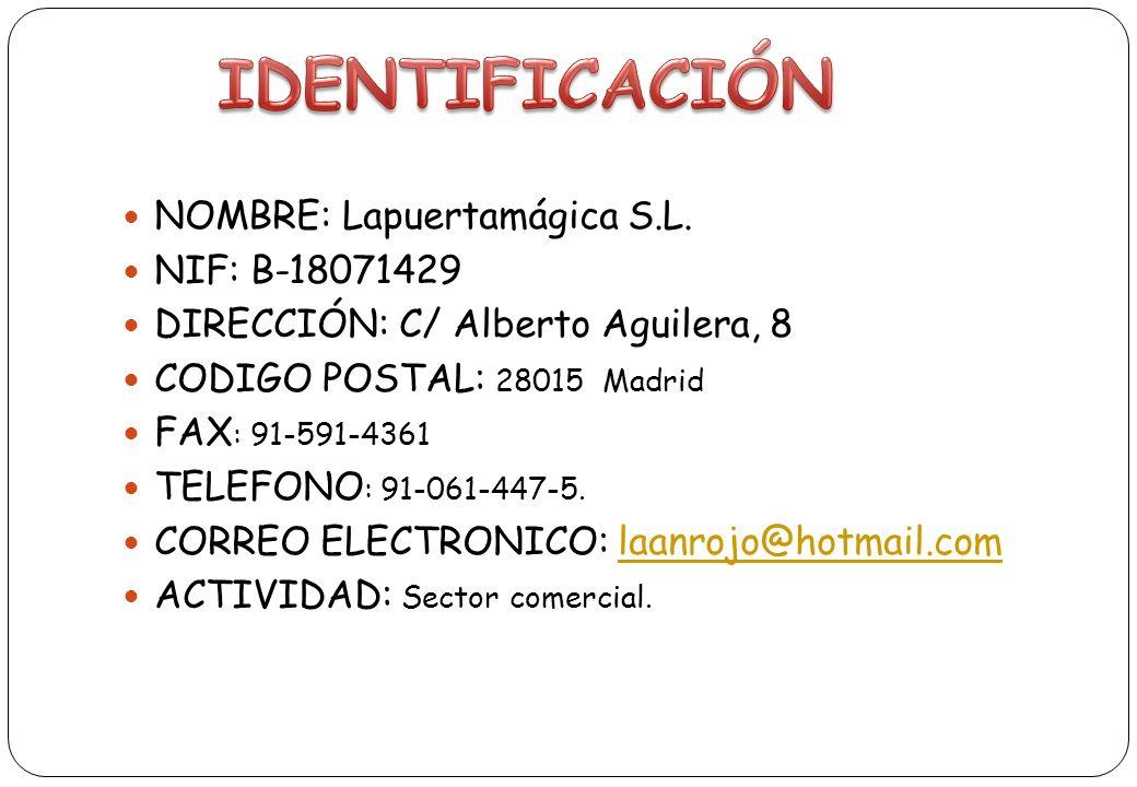 IDENTIFICACIÓN NOMBRE: Lapuertamágica S.L. NIF: B-18071429