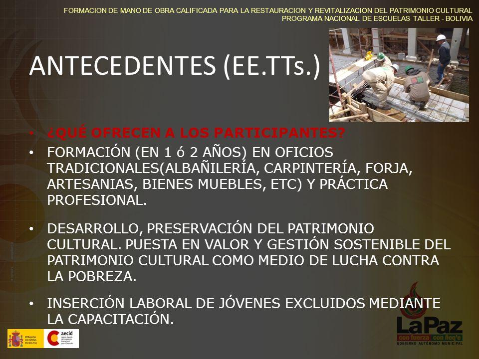 ANTECEDENTES (EE.TTs.) ¿QUÉ OFRECEN A LOS PARTICIPANTES