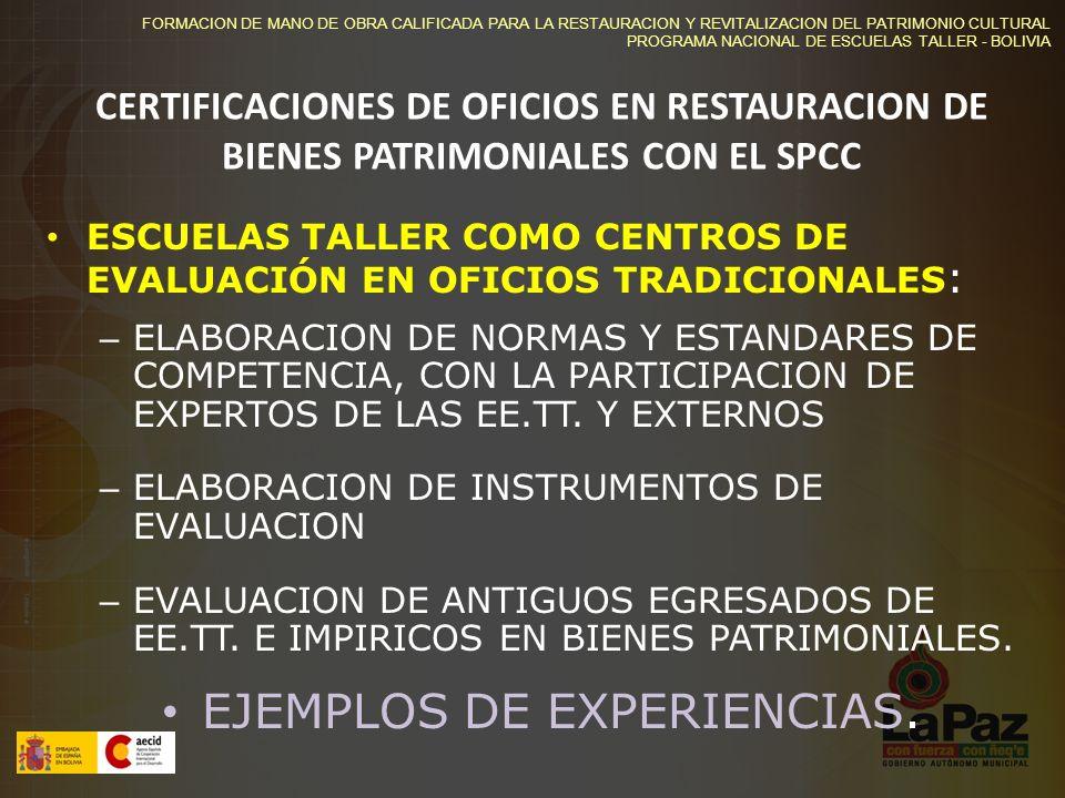 EJEMPLOS DE EXPERIENCIAS.