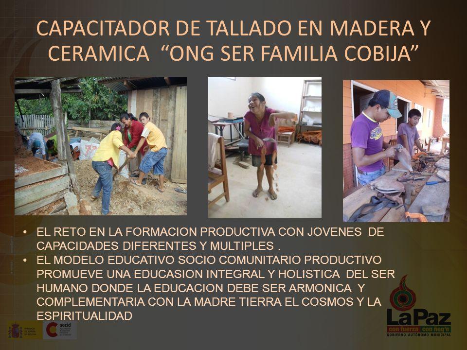 CAPACITADOR DE TALLADO EN MADERA Y CERAMICA ONG SER FAMILIA COBIJA