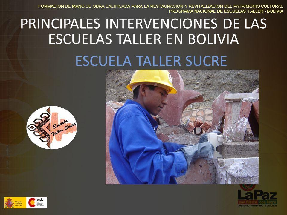 PRINCIPALES INTERVENCIONES DE LAS ESCUELAS TALLER EN BOLIVIA