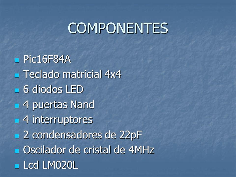 COMPONENTES Pic16F84A Teclado matricial 4x4 6 diodos LED