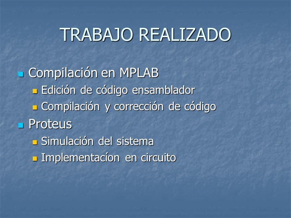 TRABAJO REALIZADO Compilación en MPLAB Proteus
