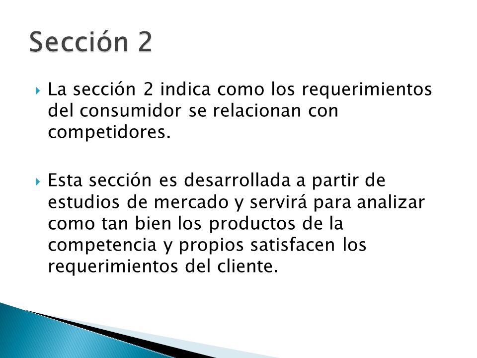 Sección 2 La sección 2 indica como los requerimientos del consumidor se relacionan con competidores.