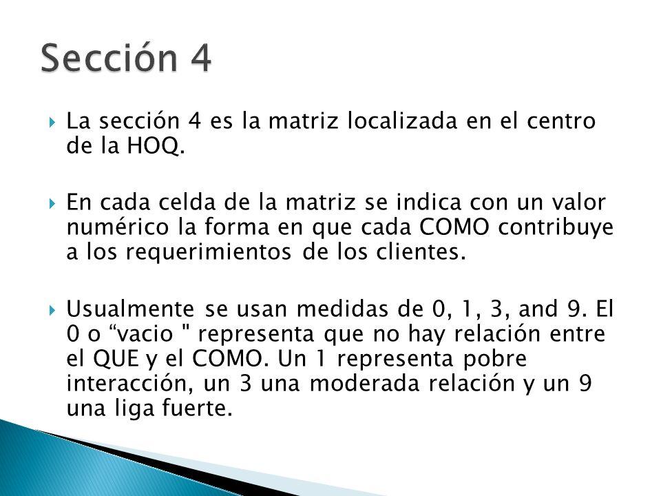 Sección 4 La sección 4 es la matriz localizada en el centro de la HOQ.