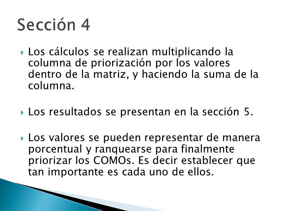 Sección 4 Los cálculos se realizan multiplicando la columna de priorización por los valores dentro de la matriz, y haciendo la suma de la columna.