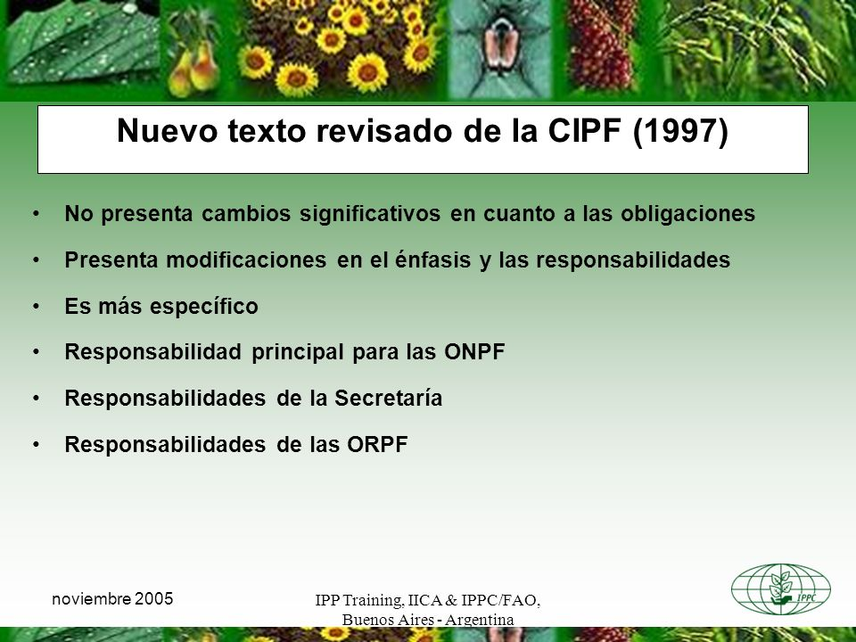 Nuevo texto revisado de la CIPF (1997)