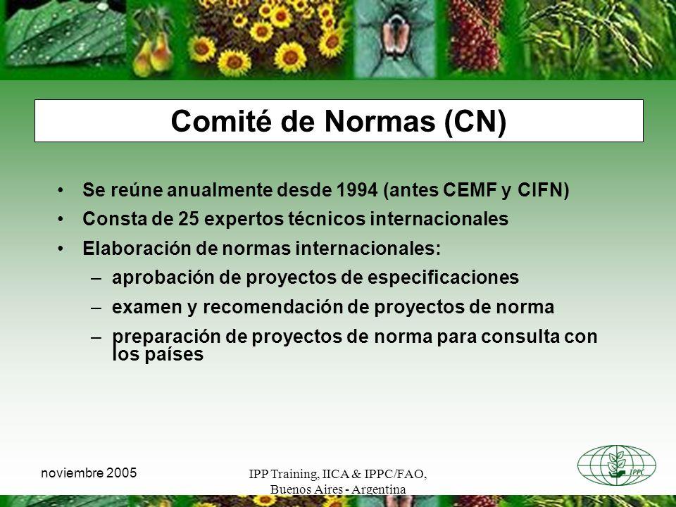 Comité de Normas (CN) Se reúne anualmente desde 1994 (antes CEMF y CIFN) Consta de 25 expertos técnicos internacionales.